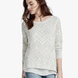 Lucky Brand Layered Chevron Metallic Sweater XL